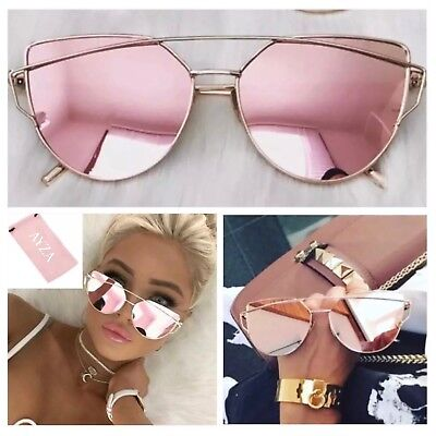 ye Sonnenbrille Damen Rosagold Verspiegelt Brillentasche (Cat Eye Brille)