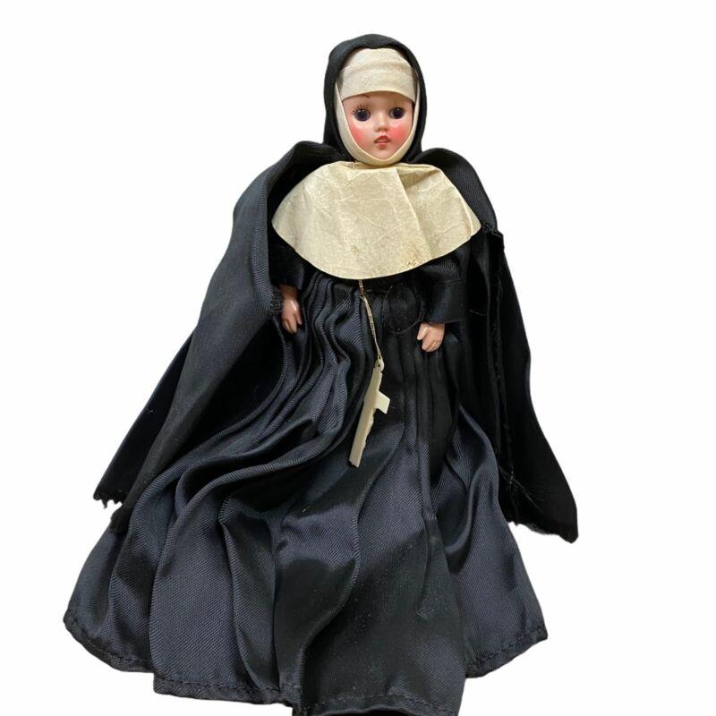 """Vintage 7"""" Hard Plastic Catholic Nun Sleepy Eyed Doll W Crucifix Blue Eyes"""