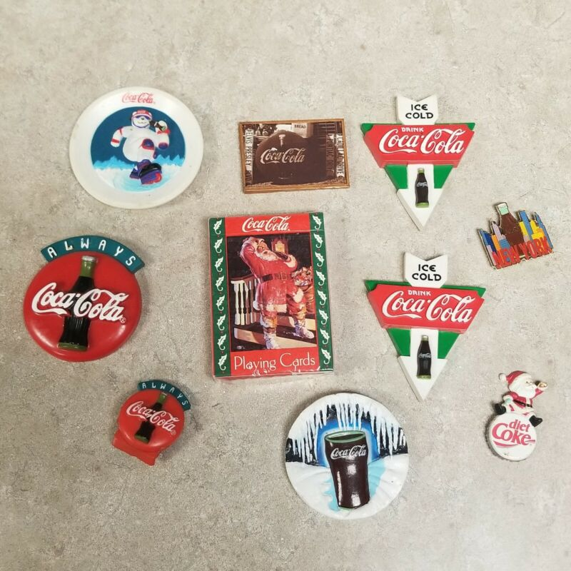Vitnage Lot Of 9 Coca Cola Magnets And 1 Set New Playing Cards