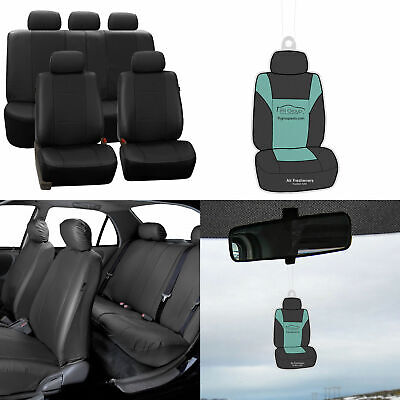 Faux Leather Seat Covers For Auto Car SUV Solid Black w/ Free Gift