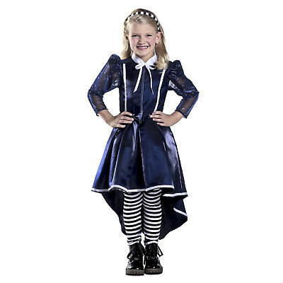 Child Girl's Alicia In Wonderland Halloween Costume Dress Leggings Headband S M - Children's Wonderland Halloween