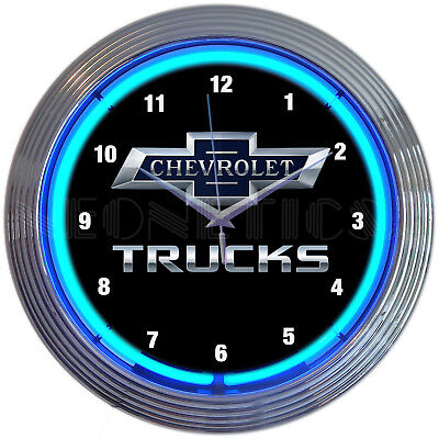 Chevrolet Chevy Trucks neon clock sign 100th Anniversary UL  Garage lamp (Chevrolet Neon Clock)