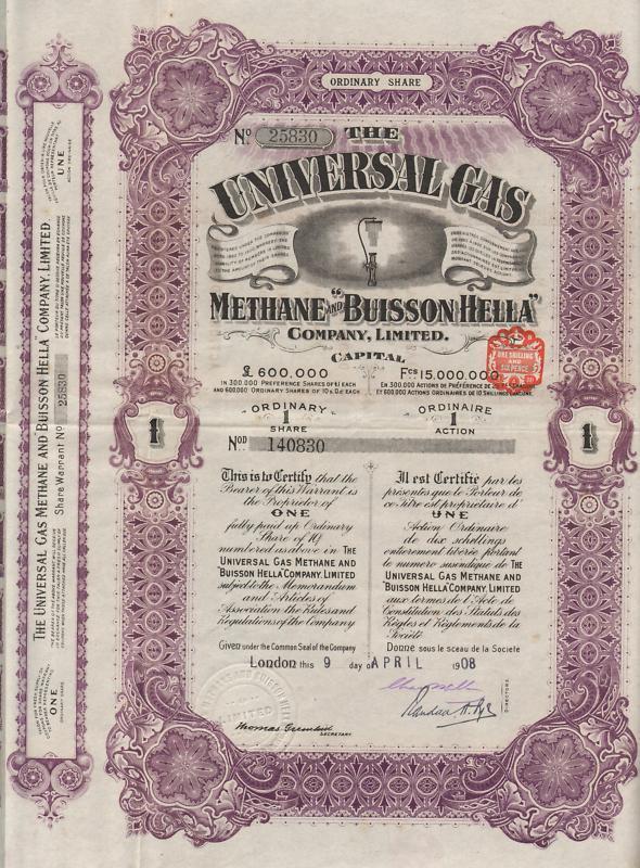 ENGLAND UNIVERSAL GAS & METHANE stock certificate 1908