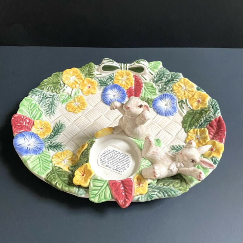 Vintage Fitz & Floyd Signed Bunnie In Bloom Plate With Candle Holder