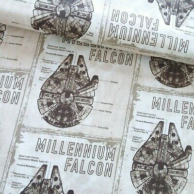 Star Wars Retro Buff Millenium Falcon Cotton Fabric,110cm wide-Per 25cm SW15