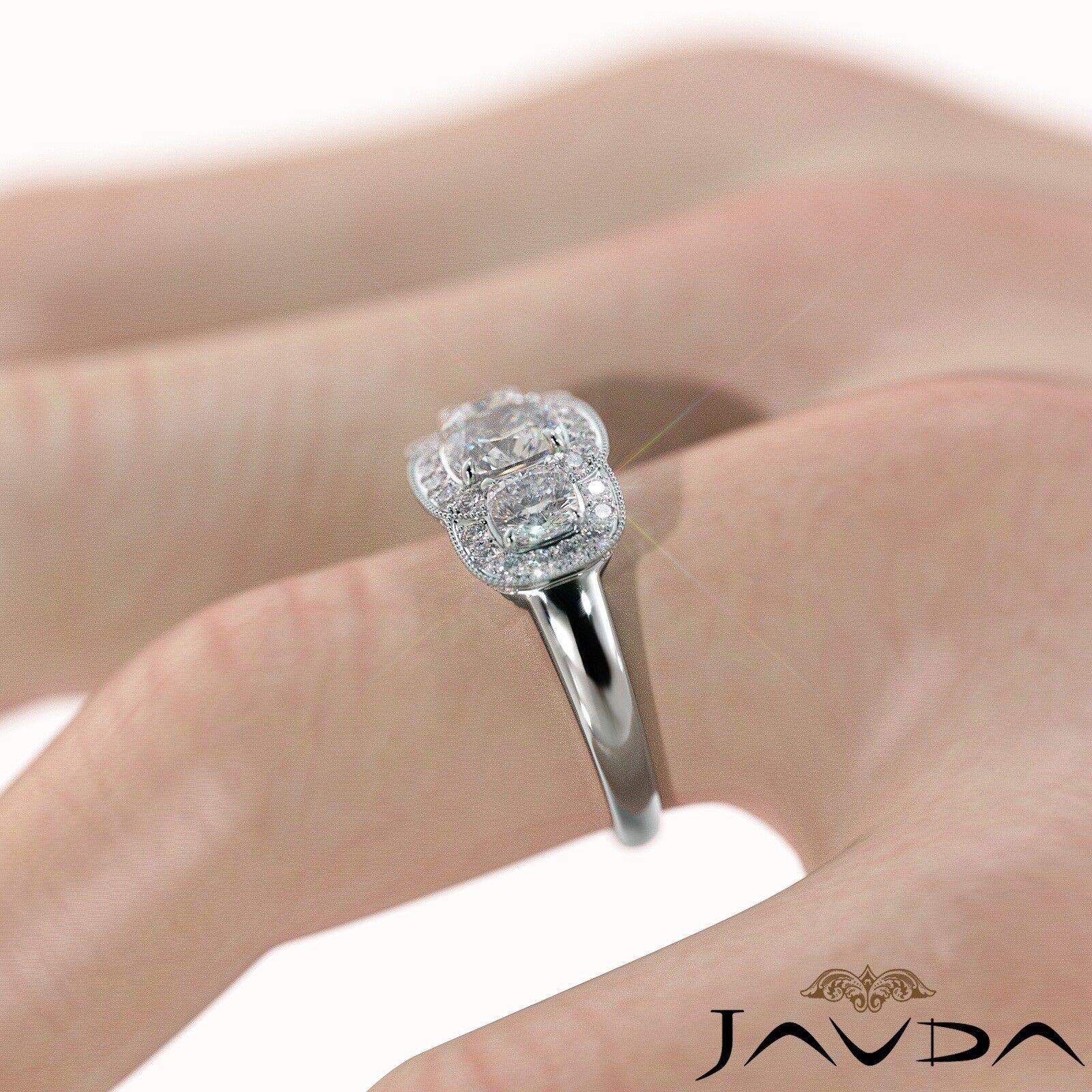 2.25ctw Milgrain Halo 3 Stone Cushion Diamond Engagement Ring GIA I-SI1 W Gold 5