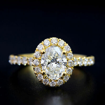 Natural 1.70 Ct Oval Cut Halo U-Setting Pave Diamond Engagement Ring H SI1 14k 1
