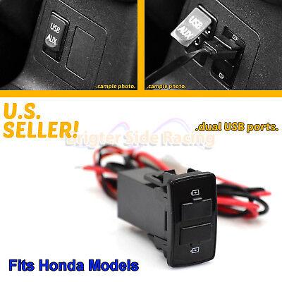 FITS HONDA CR-V/ODYSSEY/ELEMENT 2-PORTS USB POWER PLUG 12V DIRECT FIT UPGRADE