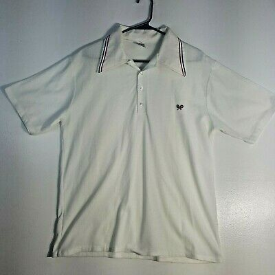 1970s Mens Shirt Styles – Vintage 70s Shirts for Guys Vintage 1970's Barclay White Collared Tennis Shirt $34.99 AT vintagedancer.com