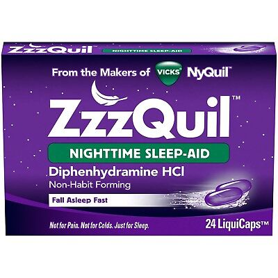 - New ZzzQuil Nighttime Sleep-Aid LiquiCaps Diphenhydramine HCl 24 Ct.