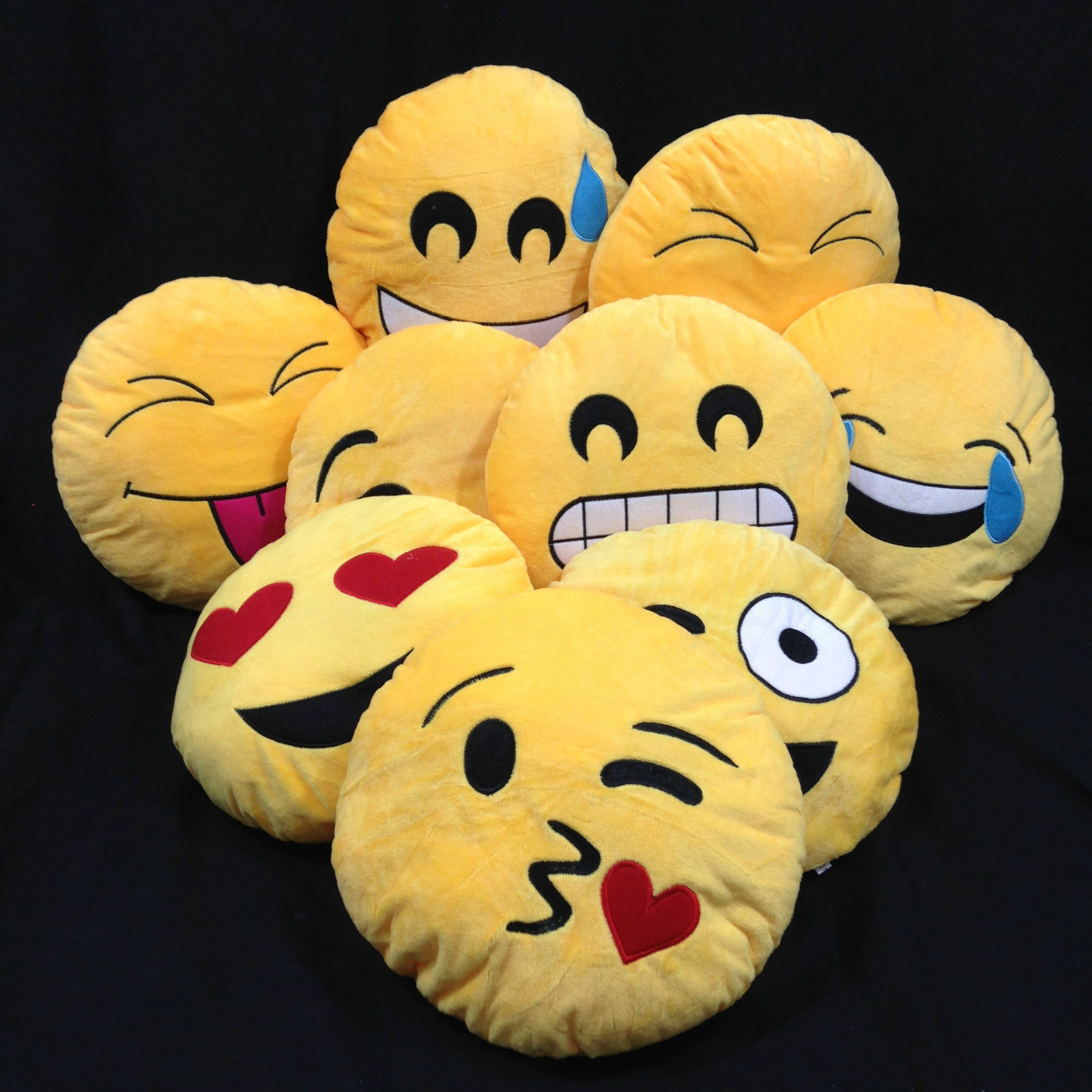 NEW Emoji Emoticon Yellow Round Cushion Soft Toys Pillow Plush