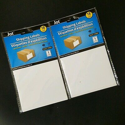 2-pk Jot 4x6 White Shipping Labels 18-ct. Pack Sticker Sticky Packing Supplies
