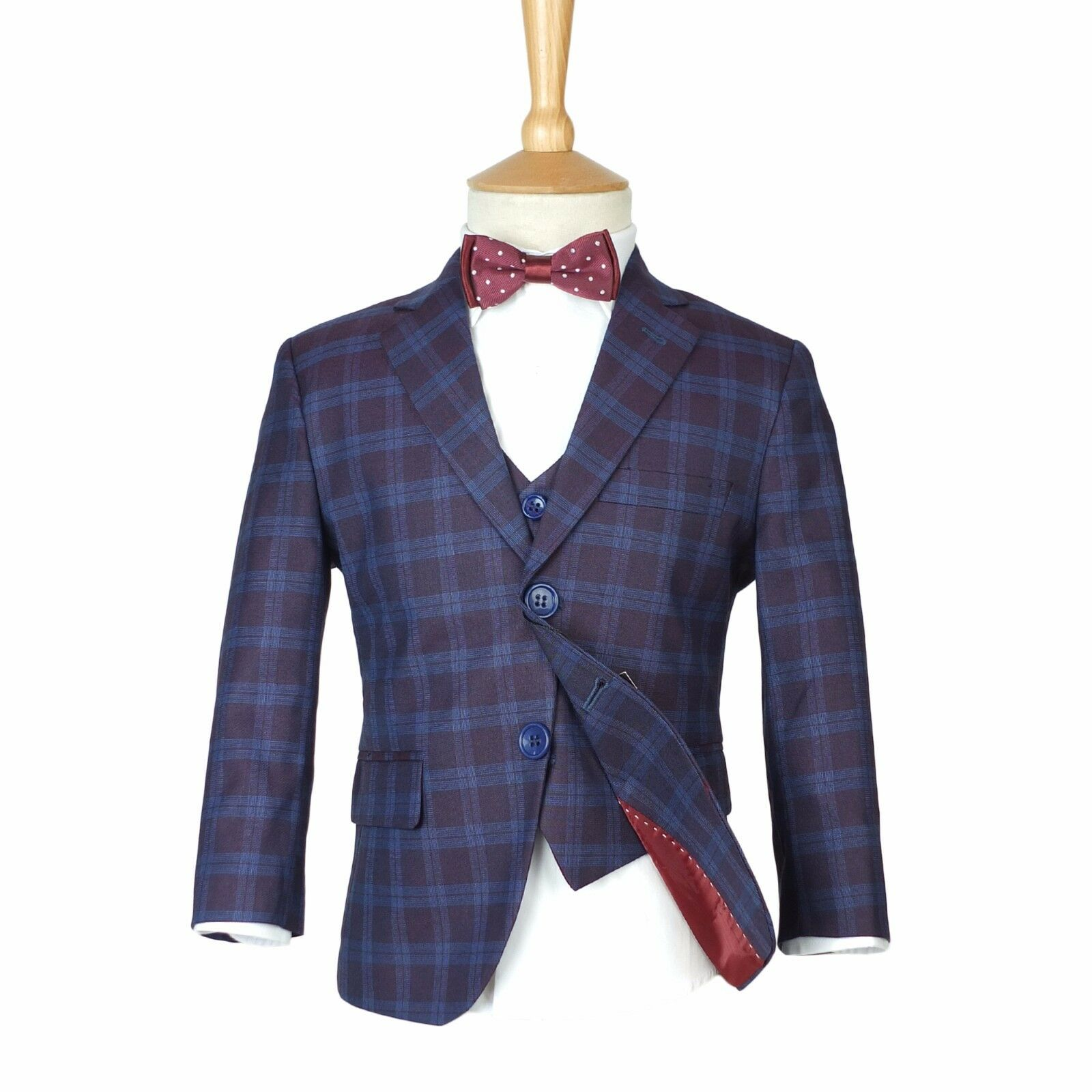 Boys checkered navy burgundy suits page boy blue check for Navy suit checkered shirt