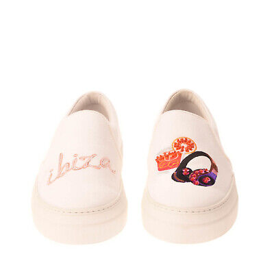 RRP€235 JOSHUA SANDERS Canvas Sneakers EU 38 UK 5 US 8 Embroidered Made in Italy