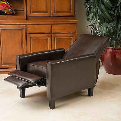 Brown Bonded Leather Recliner Chair Home Living Room Bedroom