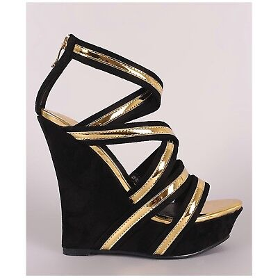 Mackin #206-1 Black Faux Suede Gold Metallic Strappy Platform Cage Wedge -
