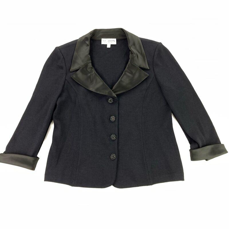 St John Evening Black Satin Knit Formal Blazer Jacket Jewel Buttons • Size 14