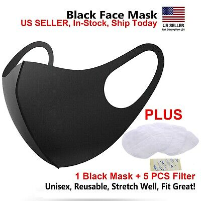 1PC Black + 5 Filters Fashion Face MASK Washable Reusable US seller  IN-STOCK