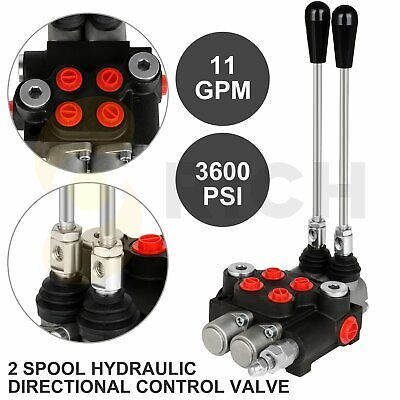 2 Spool 11 Gpm 3600 Psi Hydraulic Control Valve Double Acting Loader W Joystick