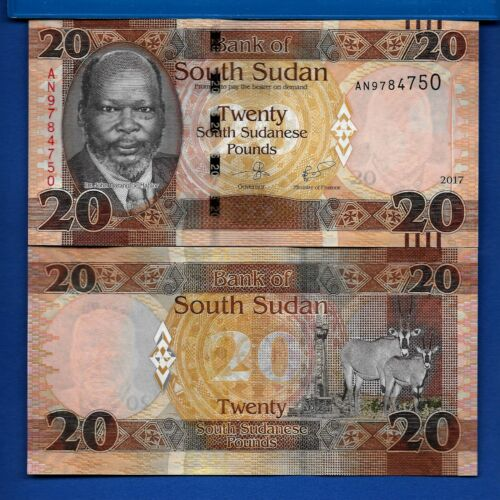 South Sudan P-13c 20 Pound Year 2017 Antelope Uncirculated Banknote