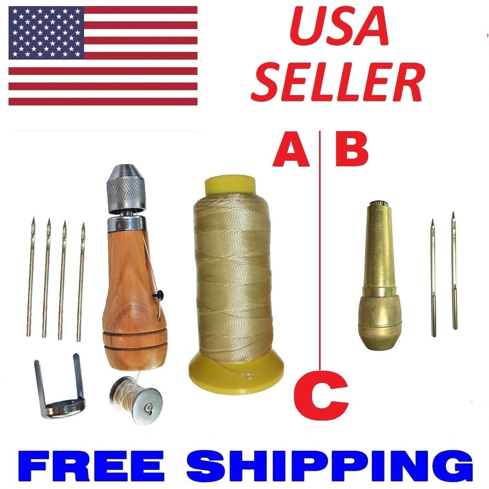 Quick Sewing Awl Leather Canvas Repair Stitcher Kit 4 Needle