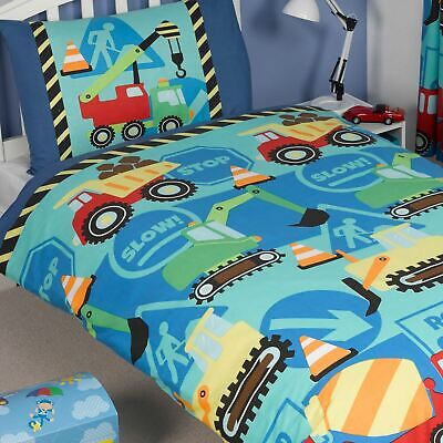CONSTRUCTION TIME JUNIOR COT BED TODDLER DUVET COVER NEW