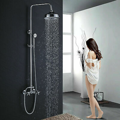 Chrome Rain Shower System Set Mixing 8-inch Rainfall Handheld Sprayer Mixer Tap Handheld Shower System