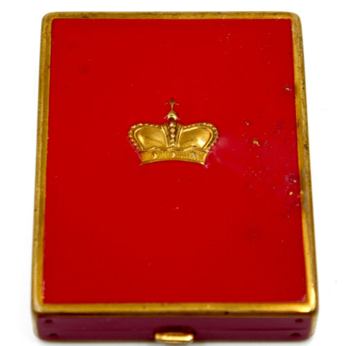 Prince Matchabelli Powder Compact Puff Red Enamel Gold Crown Vintage