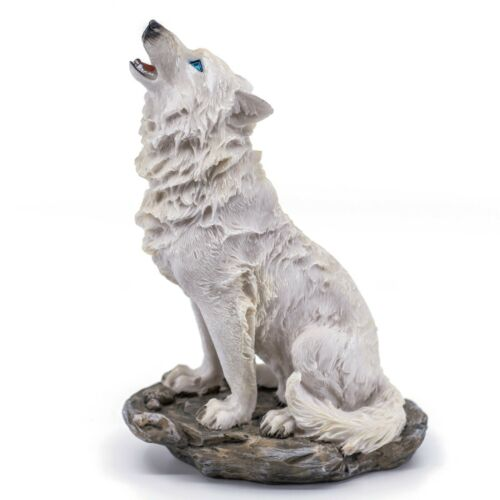 """White Wolf Sitting On Rock Howling Figurine Statue 7.75""""H Detailed Resin New"""