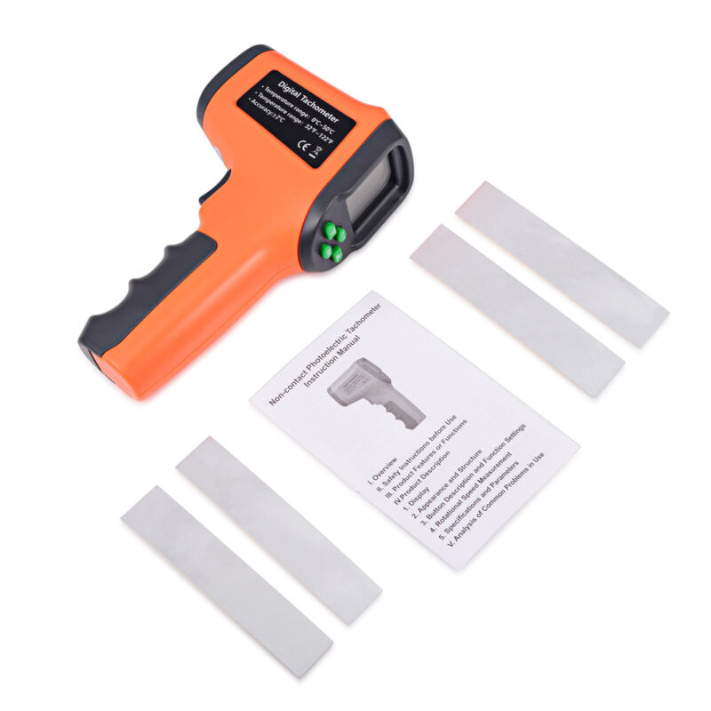 Digital LCD Photo/Laser Tachometer Non-Contact RPM Meter Handheld Temperature