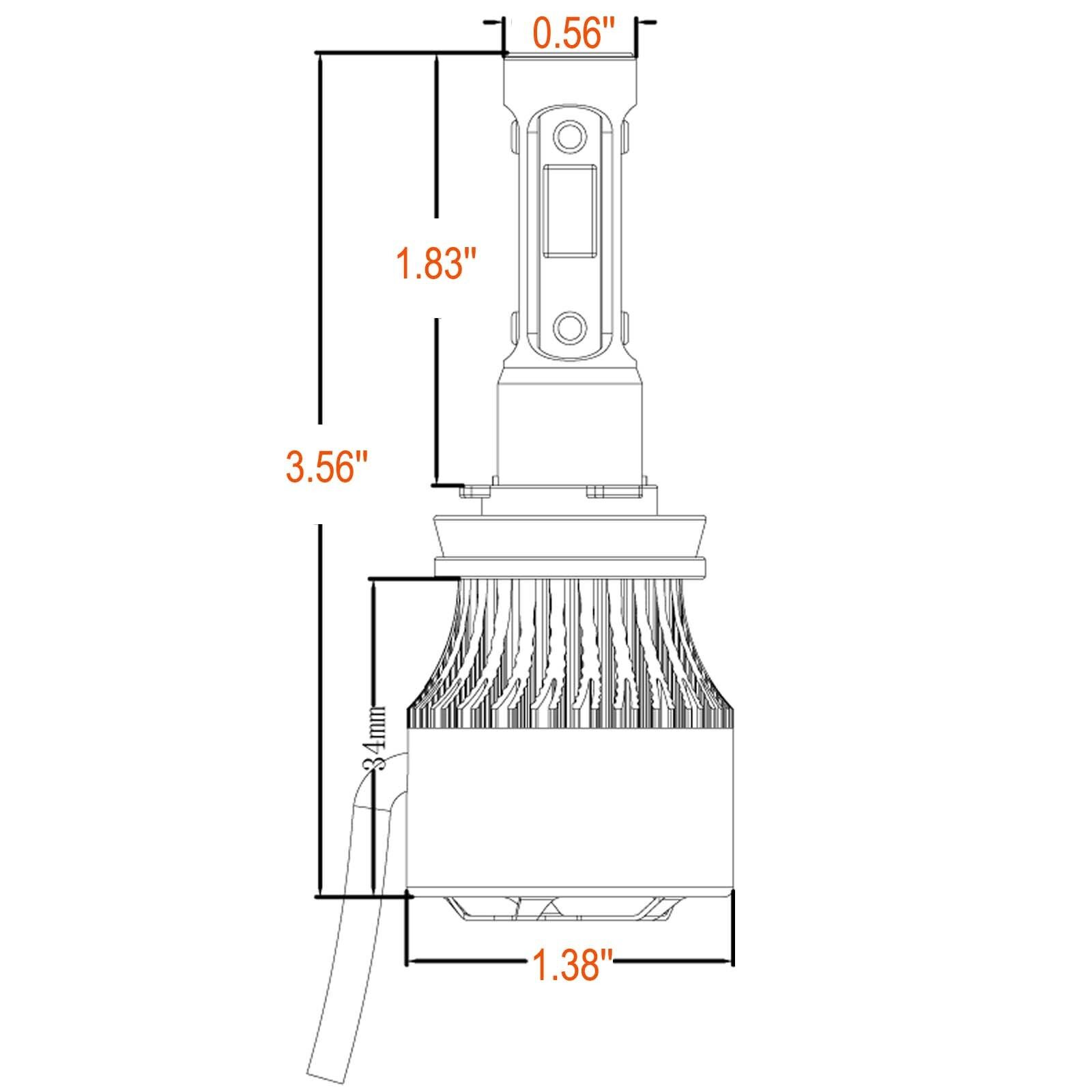 2300W 4 Sides H11 H8 LED Headlight High or Low Beam Bulbs