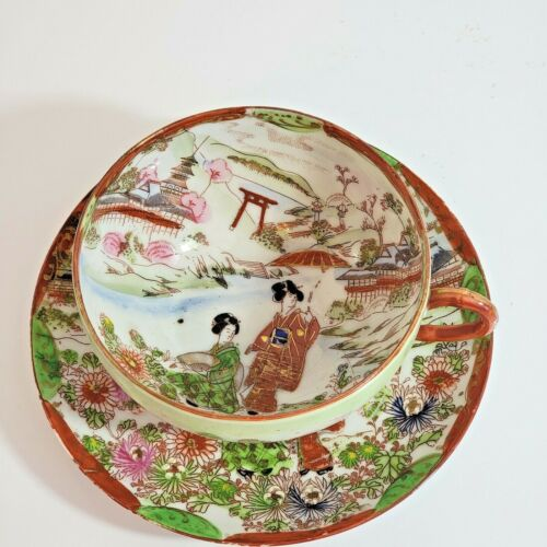 Vintage Asian Hand Painted Porcelain Cup and Saucer Set Geisha Girls