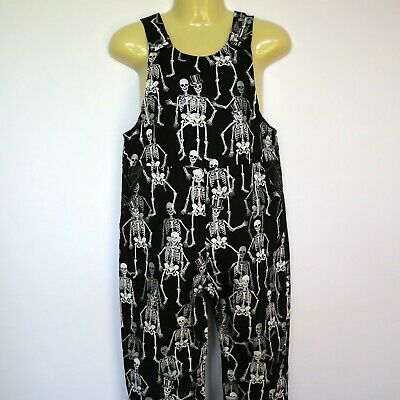 Sizes 1 & 2 - Skeleton Reversible Overalls - dungaree, spiderweb, halloween - Halloween Skeletons Australia