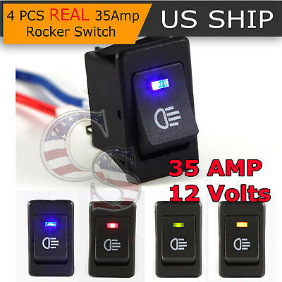 - 4Pcs 12V 35A Universal Car Fog Light Rocker Switch LED Dash Dashboard 4Pin HS
