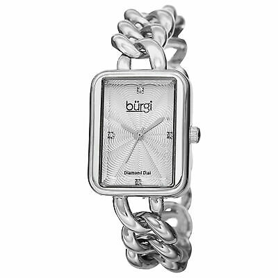 New Women's Burgi BUR100SS Swiss Diamond Silver-tone Chain Link Bracelet Watch