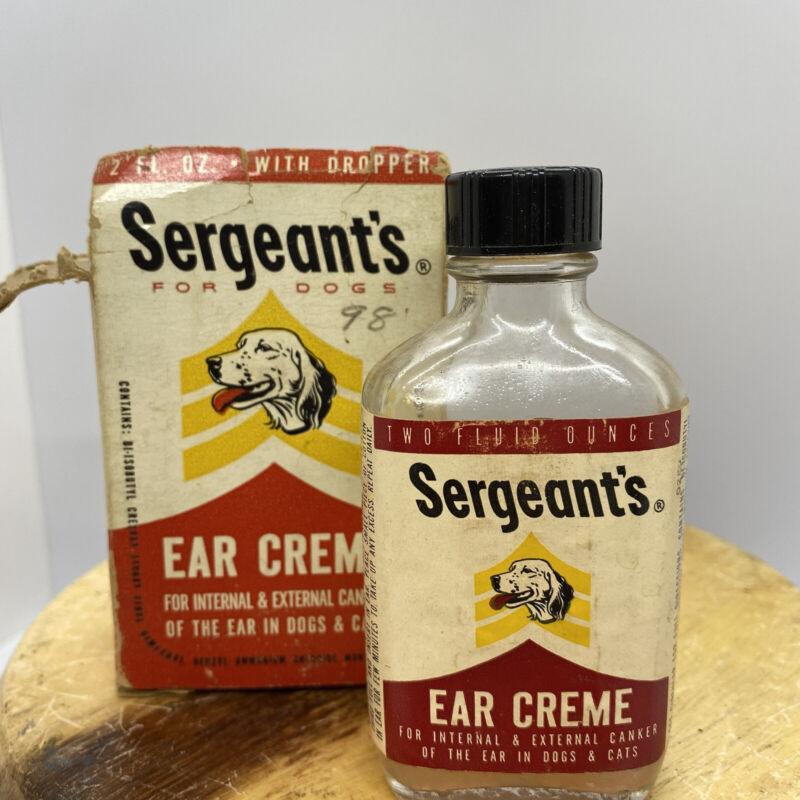 RARE VINTAGE SERGEANT'S EAR CREME ORIGINAL BOX AND BOTTLE VETERINARY MEDICINE
