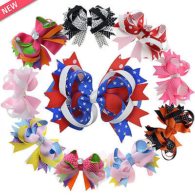 10Pcs 5 Hair Bows Alligator Boutique Clips Girls Baby Hair Ribbon Kids Colors