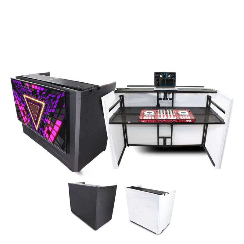 ProX XF-MESA MEDIA Portable DJ Facade Table Station with TV Mount, Scrims & Bag