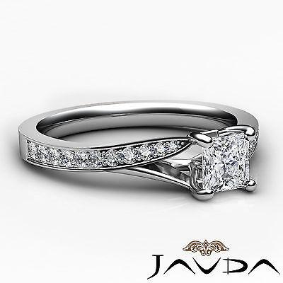 Cathedral Pave Set Princess Diamond Engagement Split Shank Ring GIA E VS2 0.85Ct 2