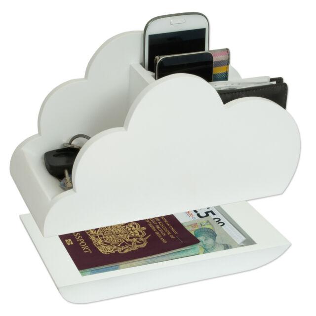 Wiki White Cloud Storage Novelty Wooden Desk tidy Organiser NEW