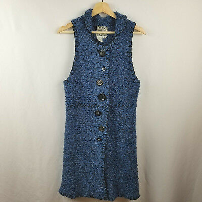 Anthropologie Curio Womens Sweater Dress Size M Blue Sleeveless Chunky Knit  Chunky Knit Sweater Dress