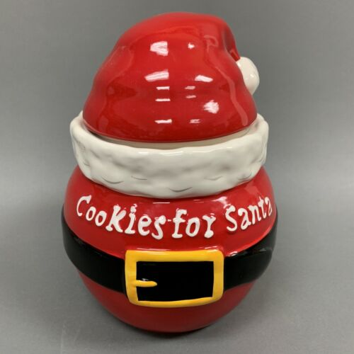 Real Home Earthenware Red Santa Cookie Jar Christmas Holiday