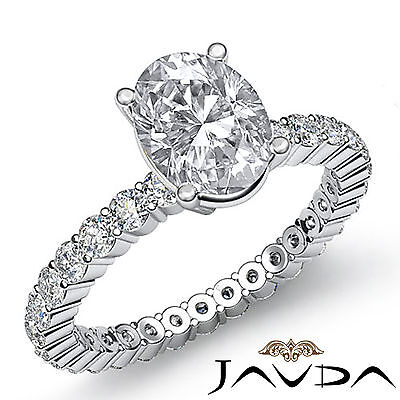 Oval Shape Womens Diamond Engagement Eternity Prong Setting Ring GIA I VS2 1.9Ct