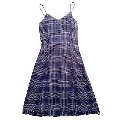 Old Navy Women's Cami Midi Dress A Line Blue White Plaid Spaghetti Strap X Small