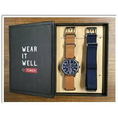 Timex Weekender Chronograph 40mm Leather Strap Watch Gift Set | TWG012800