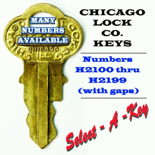 Vintage Chicago Lock Co Vending Keys, Many Numbers Available, H2100 thru H2199