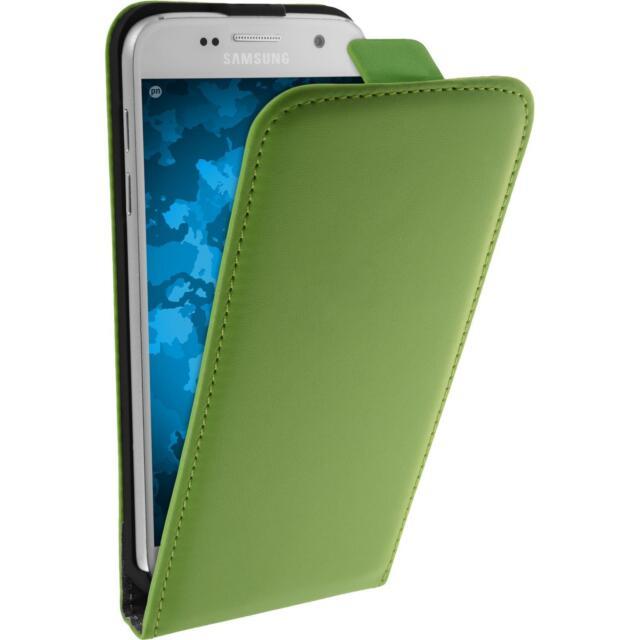 Artificial Leather Case Samsung Galaxy S7 - Flip-Case green + protective foils