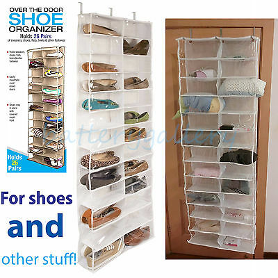 26 Pocket Over the Door Shoe Organizer Rack Hanging Storage Space Saver Hanger