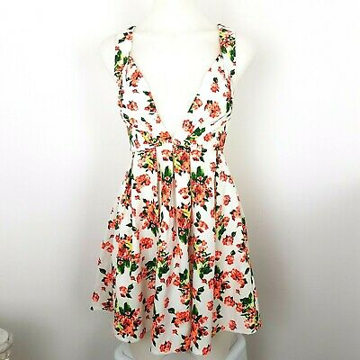 Paradisco Size 8 Floral Low Cut V Neck Party Festival Dress  Floral, Low Cut