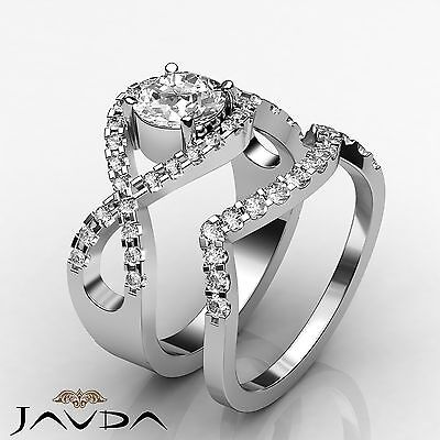 Bridal Set Round Diamond Cross Shank Engagement Ring GIA F SI1 Platinum 1.87 ct